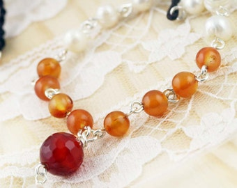 Inspiration and purity necklace - carnelian, agate, and freshwater pearls