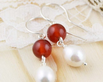 Inspiraton and purity earrings - carnelian, and freshwater pearls