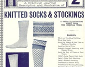 Reserved For Rosemarie- Antique 1900s Needlecraft Magazine- Knitted Socks & Stockings Knitting Magazine  Sock Pattern