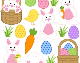 Hoppy Easter Digital Clipart - Set of 14 - Easter Bunny, Eggs, Chick, Basket, Carrot - Instant Download - Item# 8240