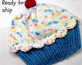 Cupcake Hat Toddler Child Baby - Cherry on Top Blue Raspberry Cake with White Sprinkle Frosting 6 9 12 18 months READY TO SHIP