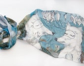 Arctic Foxy dreaming for fishes. Silk chiffon scarf Painted. Handpainted scarf in blue brown. Animal scarf Shawl painted Christmas gift mom