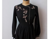 black cotton embroidered dress -- small -- made in India
