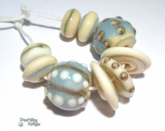COLLECTION 104 Lampwork Bead Set Handmade -Blue Silvered  Ivory Tan  - Cool and Natural -  Organic Design