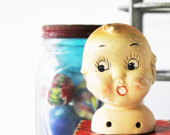 Wide Eyed - Vintage Kewpie Doll Head - Bisque - Children - Doll Parts - Baby - Nursery Decor