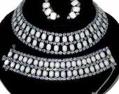 Milkglass, Rhinestone Necklace Set, Parure, Collar Style, Weiss Earrings, Vintage 1960