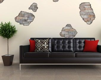 Faux Stone Breakaway Fabric Wall Decals, Removable and Reusable Eco-friendly Wall Stickers