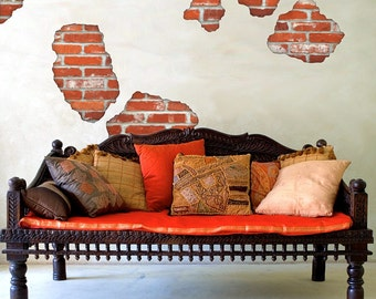 Wall Decals Faux Bricks Breakaway  Removable & Reusable Brick Peel and Stick Fabric Wall Stickers