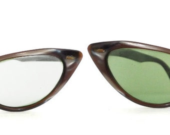 Winged Cat Eye Glasses B & L Eyeglass or Sunglass Frame. Vintage Cateye made in USA by Bausch and Lomb