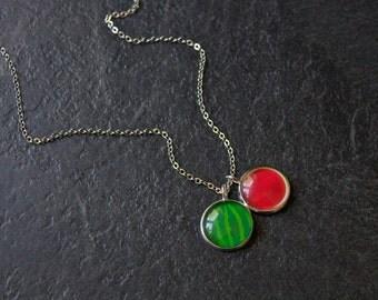Watermelon Necklace - Silver Water Melon Pendant - Fruit Necklace - Summer Necklace - Green Melon