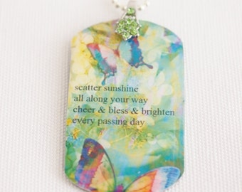 women's dog tag necklace, quote jewelry, butterfly pendant, green butterflies, hymn quote, christian jewelry