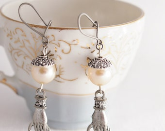 pearl earrings, christian jewelry inspired by Luke 11:9 faith jewelry, Christian earrings