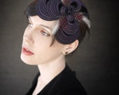 Purple Felt Headband/Fascinator with Feathers - Helix Series - Made to Order