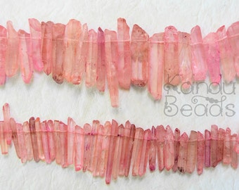 Pink Sands Natural Rock Crystal Point Beads (Medium)10-40mm Choose Half or full strand