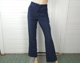 70s Bell Bottoms- Blue Jeans / Work Pants- 1970s- Disco / Boho / Hippie- Extra Large