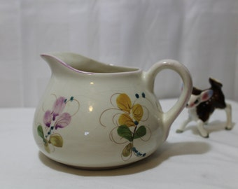 Vintage Floral Pottery Pitcher from Portugal