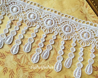 "White Victorian Flower Tear Drop Dangle Lace for Handbags, Jewelry Design, Garters, Altered Art 3""wide"
