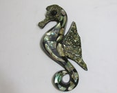 Abalone Seahorse Lucite Wall Art
