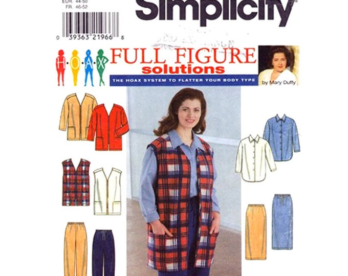 Long Jacket or Vest Shirt Skirt Pants Pattern Simplicity 8266 Plus Size 18 to 24