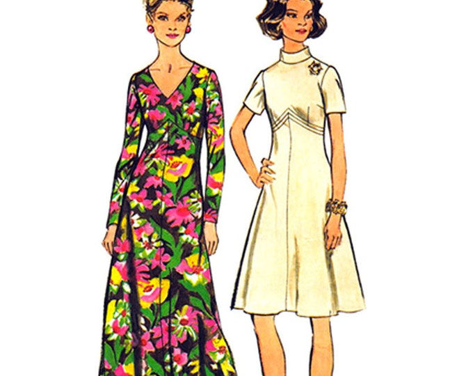 Flared Dress Sewing Pattern Simplicity 5850 Maxi Dress or Knee Length Bust 44 Plus