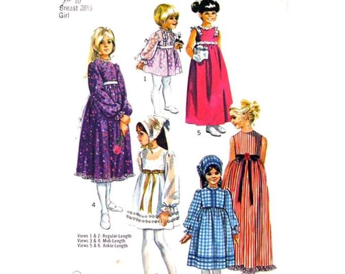 Girls Empire Boho Dress Pattern Simplicity 9133 Flower Girl Maxi Dress Long Sleeves Size 10