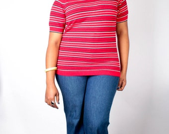 Vintage 60's Sweater // Red White Blue Striped Pullover Zip Up Sweater // Vintage Plus Size Sweater (sz L XL)