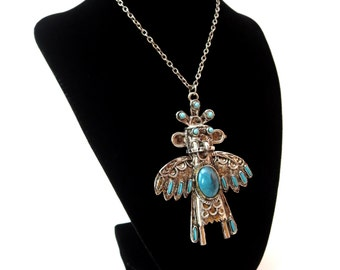 Large Statement Silver tone Metal Faux Turquoise Cabochon Southwestern Tribal Thunderbird Pendant Necklace