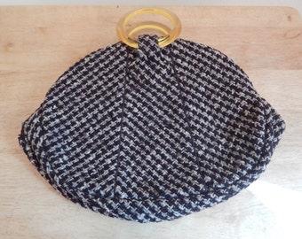 Vintage Purse, wool Herringbone, clutch, wool handbag