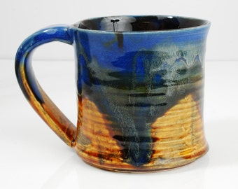 Mug Ceramic Yellow Blue Orange Red Ceramic Mug Large 12oz