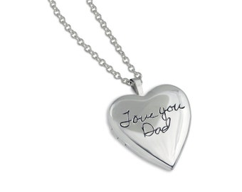 Handwriting Jewelry - Custom writing - Heart Locket - Handwriting Locket - Signature Locket - Personalized Gift - Silver Heart Memorial