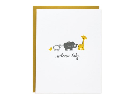 Welcome Baby Animals Letterpress Card