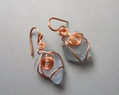 Handmade Light Blue Periwinkle Beach Sea Glass Solid Copper Wire Wrapped Scroll Design Spiral Eco Earrings