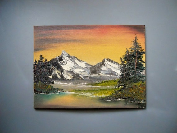 6 x 8 small canvas board oil painting bob ross style alaska for Small canvas boards