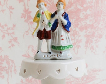 Vintage Wedding Cake Topper Bride & Groom Porcelain French Marie Antoinette