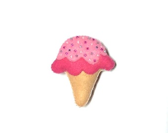 Ice Cream Brooch - Felt Plush Kawaii Pin with Sprinkles - Pink & White Ice Cream - Ice Cream Jewelry - Pink Ice Cream