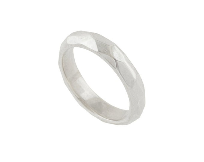 Facets Unisex Wedding Band- Made to order in your size, dimensions and material