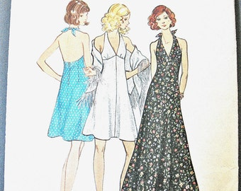 Uncut 70s Butterick 6634 Misses' Dress and Shawl High-fitted halter top dress Triangular shawl Vintage Sewing Pattern  Bust 32.5 inches