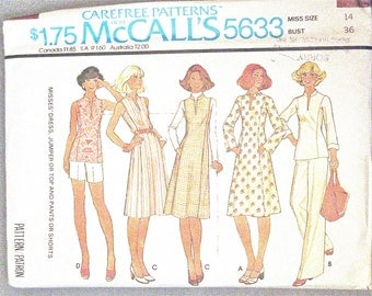 ff McCall's 5633 1970s Vintage Sewing Pattern Misses' Dress, Jumper or Top and Pants or Shorts  Uncut Factory Folded  Bust 36