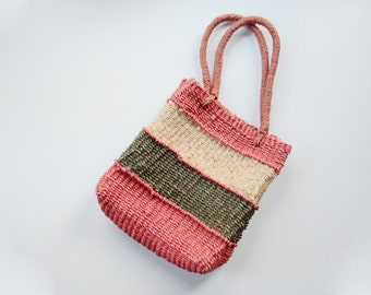 1980s Pink Coral Woven Market Bag