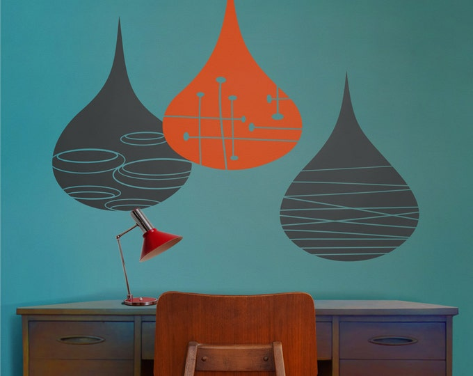mid century modern rain drops wall decals, mod rain drop sticker art, geometric rain drops, FREE SHIPPING