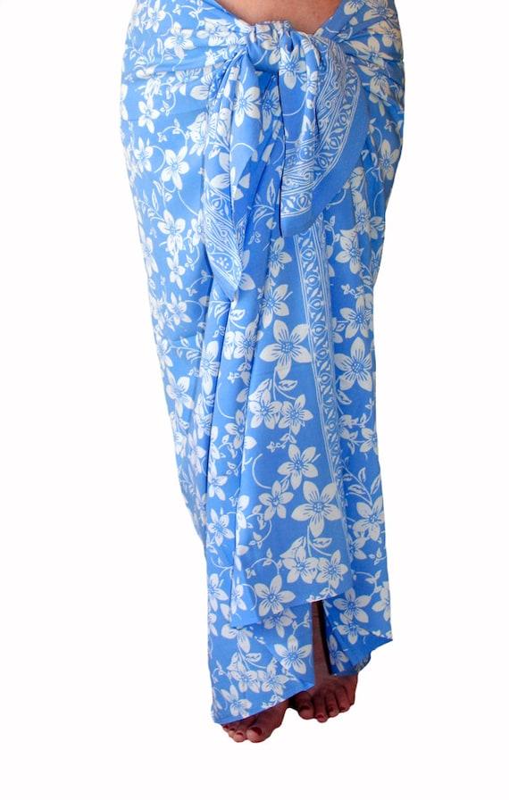 Baby Blue Hawaiian Flowers Sarong Women s Beach Clothing