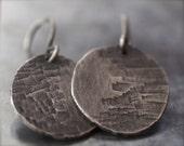 Rustic handmade texturized fine silver disc earrings