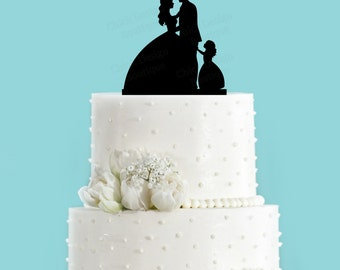 Couple Kissing with Little Girl, Bride and Groom Wedding Cake Topper