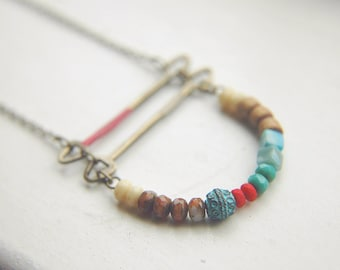 Beaded Necklace Long Folk Curve Bar Boho Bohemian Multi-Colored Beaded ~ Kaya.
