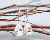 Wedding Jewelry, Bridesmaid Earrings,Clear Crystal Teardrop Bridal Earrings