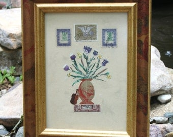 Sweet Art Picture Made from Vintage Postal Stamps