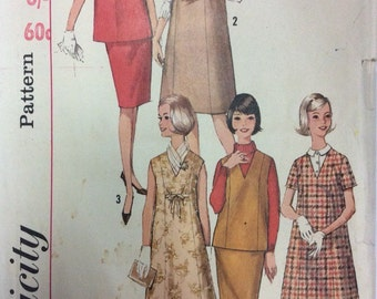 1960s uncut vintage sewing pattern Simplicity 5571 Petite Bust 32 Mid century retro Mad Men 60s maternity smock, skirt and day dress