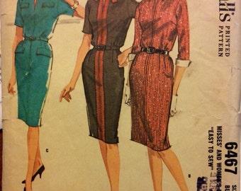 "McCALLS 6467 vintage sewing pattern, 60's wiggle dress. Large. Bust 40"""