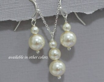 Swarovski Ivory Pearl Jewelry Set, Bridal Set, Bridesmaid Gift Set, Maid of Honor Gift, Bridesmaid Jewelry Set, Mother of the Bride Gift