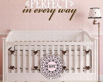 Perfect in Every Way Baby Nursery Vinyl Wall Decal - Girl or Boy Wall Lettering Quote Saying Decor 14h x 36w BA0216